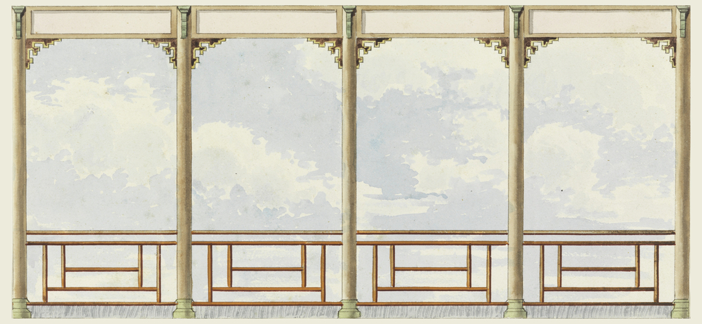 Elevation of a section of wall, with a painted decoration consisting of clouds and sky seen through the pillars of a balcony. Chinese frets as railings.