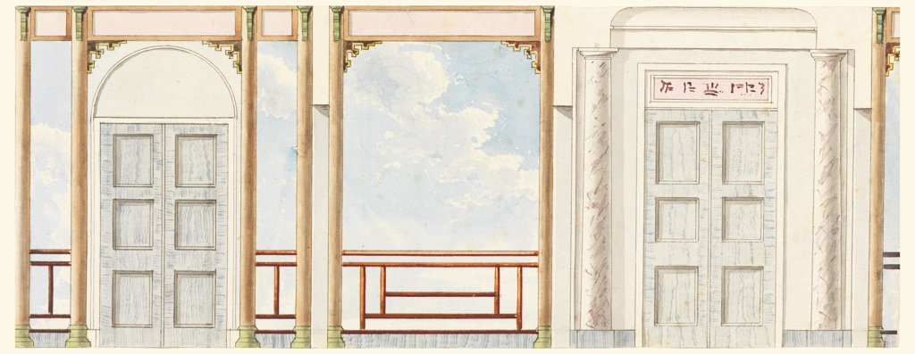 Elevation of a section of wall, with a painted decoration consisting of clouds and sky seen through the pillars of a balcony. At left, a doorway through a pair of painted columns. At right, a doorway flanked by marble columns. Blue teawood, sky, and Chinese frets as railings.