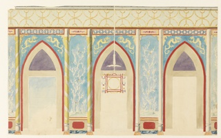 Horizontal rectangle.  Elevation of a wall, with the three divisions of window (left), fireplace (center), and door (right) enclosed within painted arched components, each flanked by columns.  A design of flowers and birds covers the narrow spaces between the openings.  Frieze of bamboo design above.