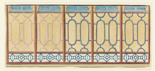 Design for fretwork at the Royal Pavilion, Brighton, perhaps for the glass passage.  Horizontal rectangle.  Elevation of a section of a wall, with the design of a series of columns with lattice-work patterns between them.