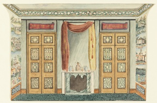 Horizontal rectangle. Design for the Royal Pavilion, Brighton. The wall facing the spectator has a central mantelpiece of green and white marble surmounted by a tall mirror, which is framed by a drapery hung over a rod. To left and right are doorways over which are painted scrolls bearing Chinese characters.