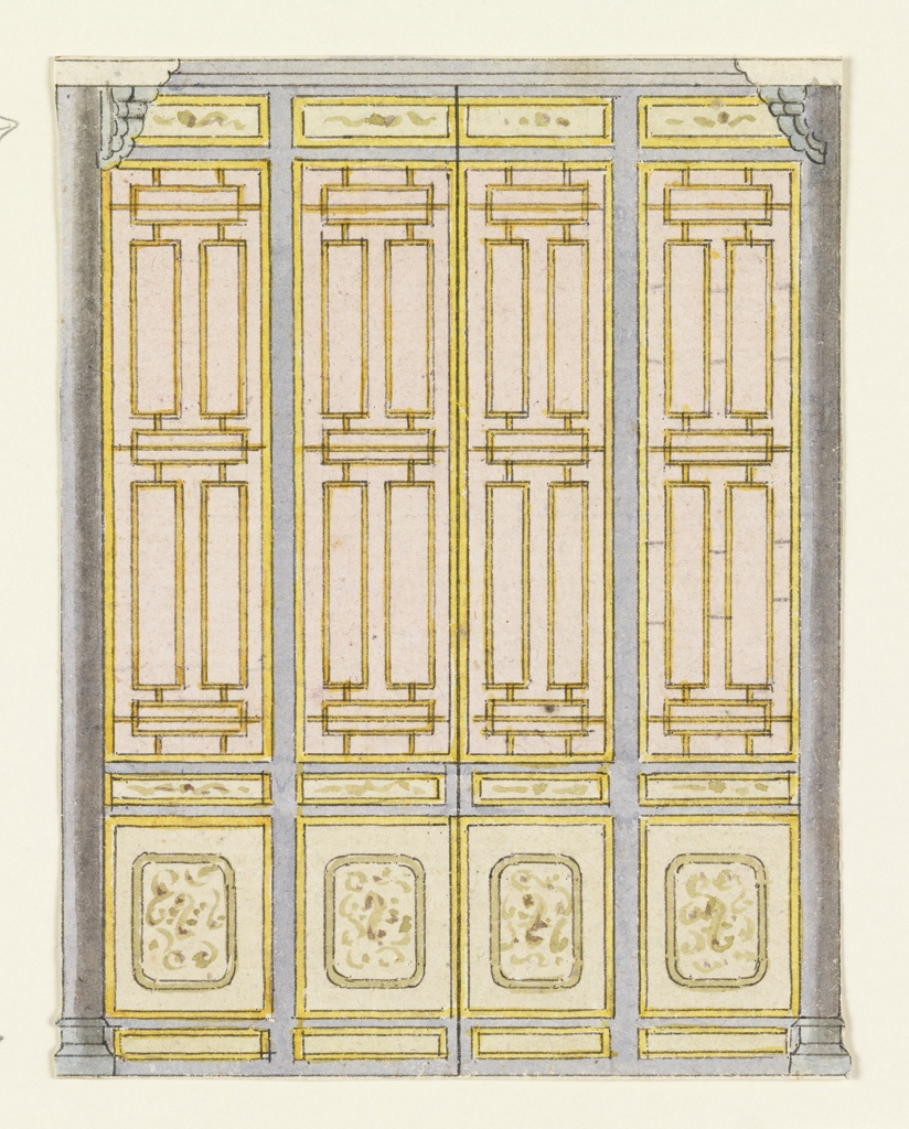 Vertical rectangle. Design for the Royal Pavilion, Brighton. Design for a section of a wall showing four narrow vertical panels containing painted lattice-work designs. Smaller panels above and below bear scroll designs. Narrow columns at ends of the wall.  Original album associated with this collection still exists.  See 1948-40-1 accessory