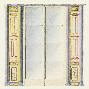 Vertical rectangle. Design for the Royal Pavilion, Brighton. Design for a section of a wall with double glass doors; on both sides are narrow panels with painted designs of lattice-work, flanked by columns.  Original album associated with this collection still exists.  See 1948-40-1 accessory