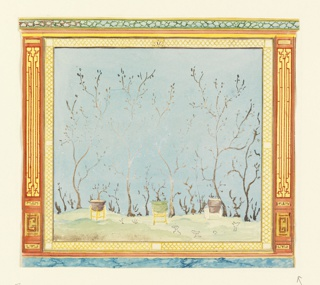 Horizontal rectangle. Design for the Royal Pavilion, Brighton. Design for a wall panel, with a large painting of a Chinese landscape representing a group of trees silhouetted against the sky and three large urns on stands in the foreground. The painting is enclosed by a decorative border, and flanked by narrow vertical panels with trellis design.  Original album associated with this collection still exists.  See 1948-40-1 accessory