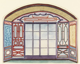 Design for the Royal Pavilion, Brighton. Design for an alcove with an arched ceiling and a window. Painted lattice-work designs on the walls and on the lunette above the windows.