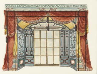 Horizontal rectangle. Design for the Royal Pavilion, Brighton. Design for an alcove with an arched ceiling and containing a window. A lattice-work pattern on the walls. Festoons of drapery at entrance to alcove. Above the drapery, a cornice is visible with decoration of dolphins and lattice-work.  Original album associated with this collection still exists.  See 1948-40-1 accessory