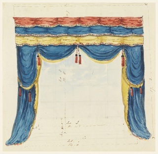 Horizontal rectangle. Design for the Royal Pavilion, Brighton. Design for window drapery, with swags of blue, lined in yellow and hung with tassels, surmounted by a valence in three tiers of red, blue, and yellow. Indications of measurements in ink. Generally associated with preceding designs.  Original album associated with this collection still exists.  See 1948-40-1 accessory