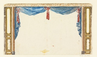 Horizontal rectangle. Design for the Royal Pavilion, Brighton. Design of a drapery for a recess opening. Drapery in blue caught at the center and upper corners with red bows and tassels. The central space is spanned by curtains, lacking central supports.