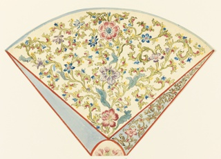 A segment of a circle. Design for the Royal Pavilion, Brighton. A design for a section of a rug, divided into three fields radiating from an oval center. An allover scroll design of Chinese leaves and flowers fills the large and one of the small radiating panels, the panel at left in solid color. The oval center filled with a single flower. There is a mannered juxtaposition of a Venetian red line with blue infill of a star shape. This is also seen in the surrounding pointed windows.  Original album associated with this collection still exists.  See 1948-40-1 accessory
