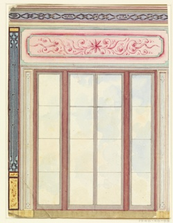 Vertical rectangle. Design for the Royal Pavilion, Brighton. A tall double-window, flanked by two narrow panels of glass. Lattice-work panels at the sides. The windows are surmounted by a painted tablet with scroll decoration.  Original album associated with this collection still exists.  See 1948-40-1 accessory