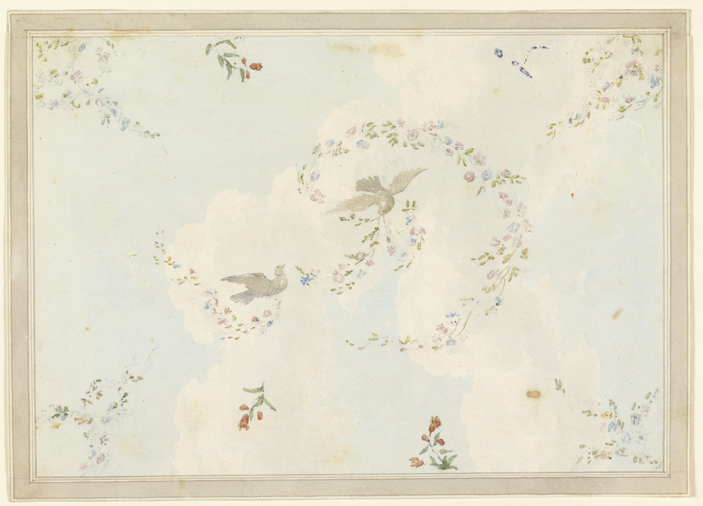 Drawing, Ceiling Design with Doves and Flower Garlands, possibly for the Entrance Hall