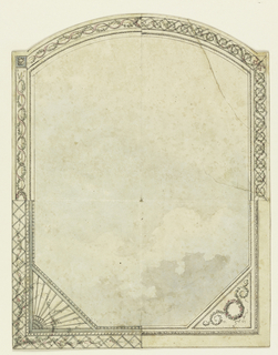 Vertical rectangle. Design for the Royal Pavilion, Brighton. Painted sky ceiling, curved top with four alternative border suggestions.