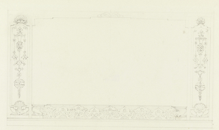Horizontal rectangle. Design for the Royal Pavilion, Brighton. Panels left and right with fish, shells at base.  Patterned border below connecting the two panels. Blank central panel, obviously meant to carry some motif, is supported by a dado with a design of formal Chinese scrolls, and bordered on either side by upright panels bearing a design of fishes, moths, and desiccated threads.