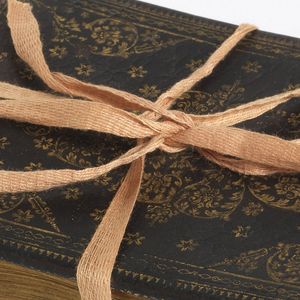 Brown leather binding with gilt decoration in curved floral motifs. 410 leaves with writings and some drawings by the most celebrated Augsburg theologians and artists of the era.