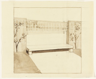 Drawing, Garden Trellis and Bench