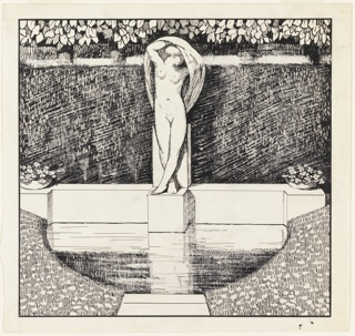 In a fountain a figure of a nude woman with raised arms with shawl over head. Beyond fountain, a wall with trees. Cropped view of path leading to the fountain surrounded by grass.