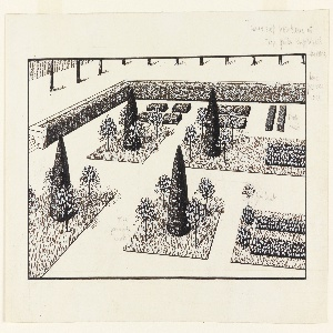 View of garden with conical trees. Graphite markings in border.