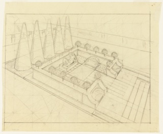 Drawing, Study for Walled Garden with Sculpture, Benches, and a Row of Five Conical Trees