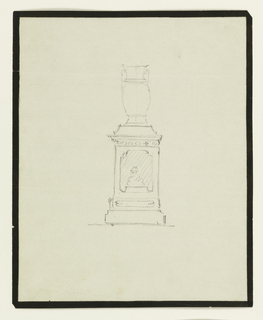 Elevation of an urn on a stand, ruled border line in black gouache recto and verso.
