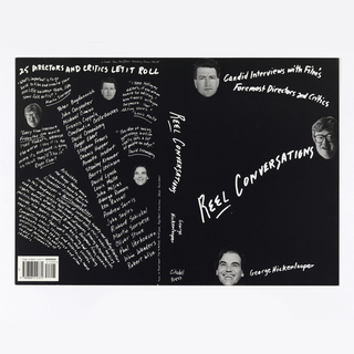 "Black book cover with white text and photographs of heads. Text is written skewed and haphazardly all over the cover. Front side: Candid Interviews with Film's / Foremost Directors and Critics; REEL CONVERSATIONS; George Hickenlooper. Spine: REEL CONVERSATIONS; George / Hickenlooper; Citadel / Press. On back side, upper right: A Citadel Press Book/Carol Publishing Group $12.95; 25 DIRECTORS AND CRITICS LET IT ROLL / ""What's important is to go / back to film and create your / own little universe there, like / some folk artist."" / Martin Scorsese; ""Every time I review a / Friday the 13th movie / I sell tickets, because / the worse I say it is the / more its audience is going to think they'll like it."" / Roger Ebert; Peter Bogdanovich / John Carpenter / Michael Cimino / Francis Coppola / Constantin Costa-Gavras / David Cronenberg / Roger Ebert / Stephen Frears / Dennis Hopper / Annette Insdorf / Stanley Kramer / Barry Levinson / David Lynch / Louis Malle / John Milius / George Romero / Ken Russell / Andrew Sarris / John Sayles / Richard Schickel / Martin Scorsese / Oliver Stone / Paul Verhoeven / Wim Wenders / Robert Wise; ""I keep telling my / editors, if you win an / award for editing, I / won't work with you / anymore. Your / editing shows."" / Louis Malle; ""The idea of having / gynecology in a film / really sets a lot / of people on edge."" / David Cronenberg; Astonishing, / the things these movie / luminaries have to say to / filmmaker-director George / Hickenlooper in Reel Conversations. / In this landmark collection of interviews, twenty-one leading directors / and four major critics talk freely about every topic under the klieg / lights: actors, studios, personal influences, growing up, psychotherapy, / politics, tastes, new Hollywood, B-movies, European films, reviews, / suicide, film theory, agents, and anything and everything / that illuminates their work, vision, and success. / compelling, smart, casual, and entertaining, these / dialogues capture the diverse and often/ surprising views as well as / distinct personalities of / today's cinematic / leaders. Lower left, SKU bar."