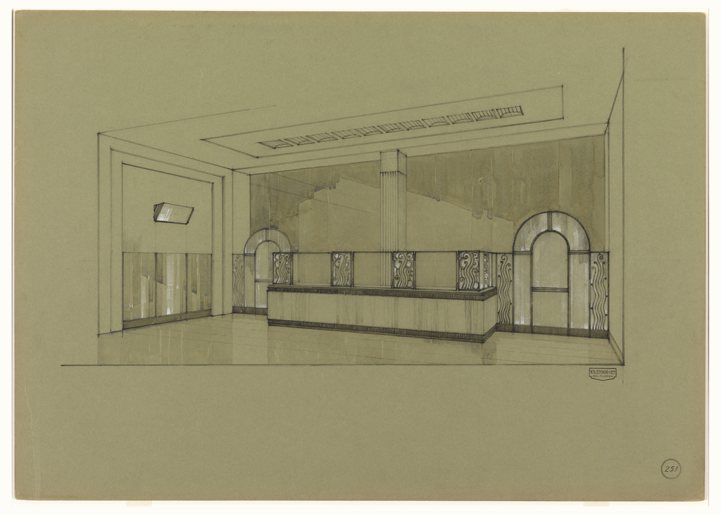 View of lobby, with projecting counter at center between two arched windows (or mirrors).  Behind the counter, is a wall of glass windows alternating with wrought metalwork panels decorated with wave-like pattern.  At left, the wall is decorated with three glass or mirrored panels; light fixture above.  At top of image, a line of ceiling vents or cove decorations runs the length of the counter.