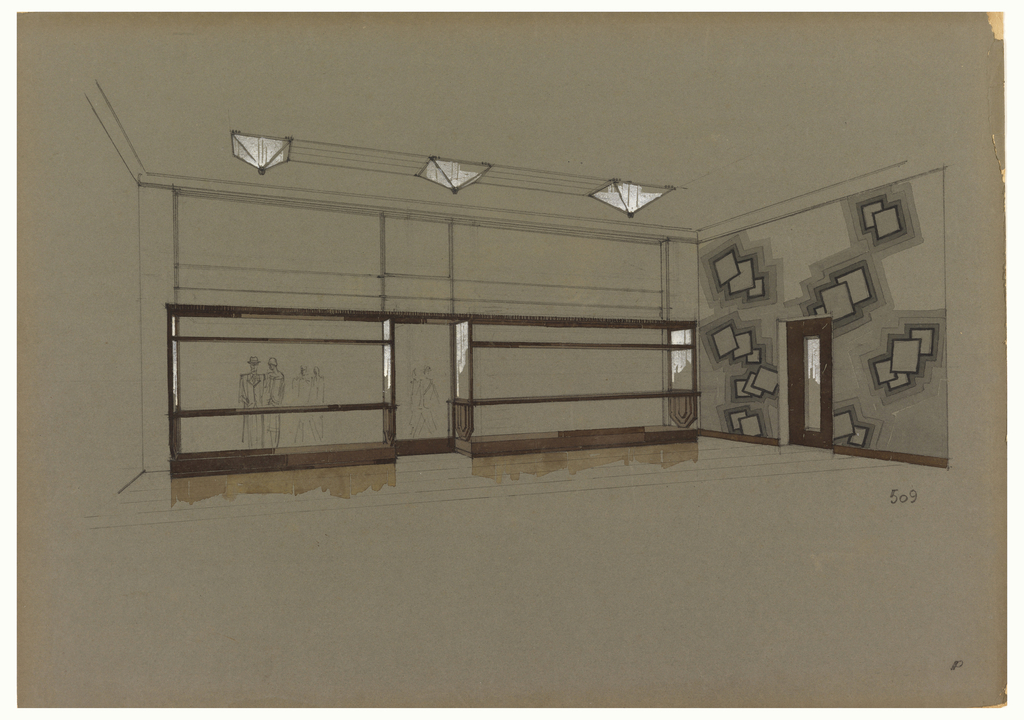Perspective view  of interior with two empty store windows flanking a central door.  Each vitrine is trimmed with a narrow  frame with two display shelves; outline of pedestrians on street can be seen through left vitrine.  Three pyramidal  light fixtures are spaced in the ceiling. At right, on wall with a door, is a mural or wall covering with a pattern of  overlapping squares.