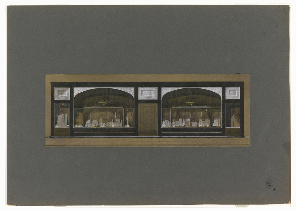 Drawing Design For An Art Deco Storefront Displaying Silver