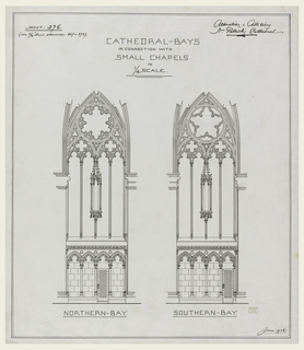 "Two interior elevations. Both bays have niches in center of wall and door at floor level. Scale ¼"" to 1"". Designs for two cathedral bays; labeled under left bay: NORTHERN-BAY; under right bay: SOUTHERN-BAY."