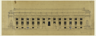 Horizontal building with rows of windows and cornices. No lions are shown, but the word: Lion, is written at right in the steps.