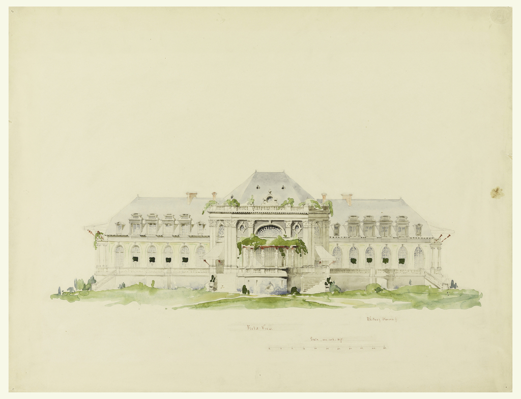 Two-story building with pointed roof, balustrades, and greenery. The central part is projecting with a pair of stairs leading up to the main floor, where a loggia with gaines is shown. In brown ink, lower margin: Field View.; Scale, one inch = 10 ft [numbers below].
