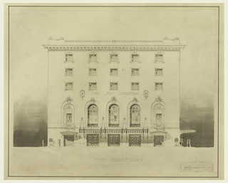 """Façade of building with fifteen square windows in upper section; five arched windows with keystone cornices in lower section, and five double doors at street level. Lights hang from façade. Some figures depicted for scale. On building above arched windows: THE NEW THEATRE; at center, lower margin: SKETCH ELEVATION SCALE 1/8""""."""