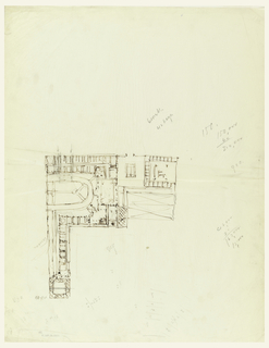 L-shaped plan of a building, surrounded by marks in graphite.