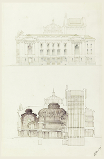 Drawing, Elevation and Cross-Section of an Opera House