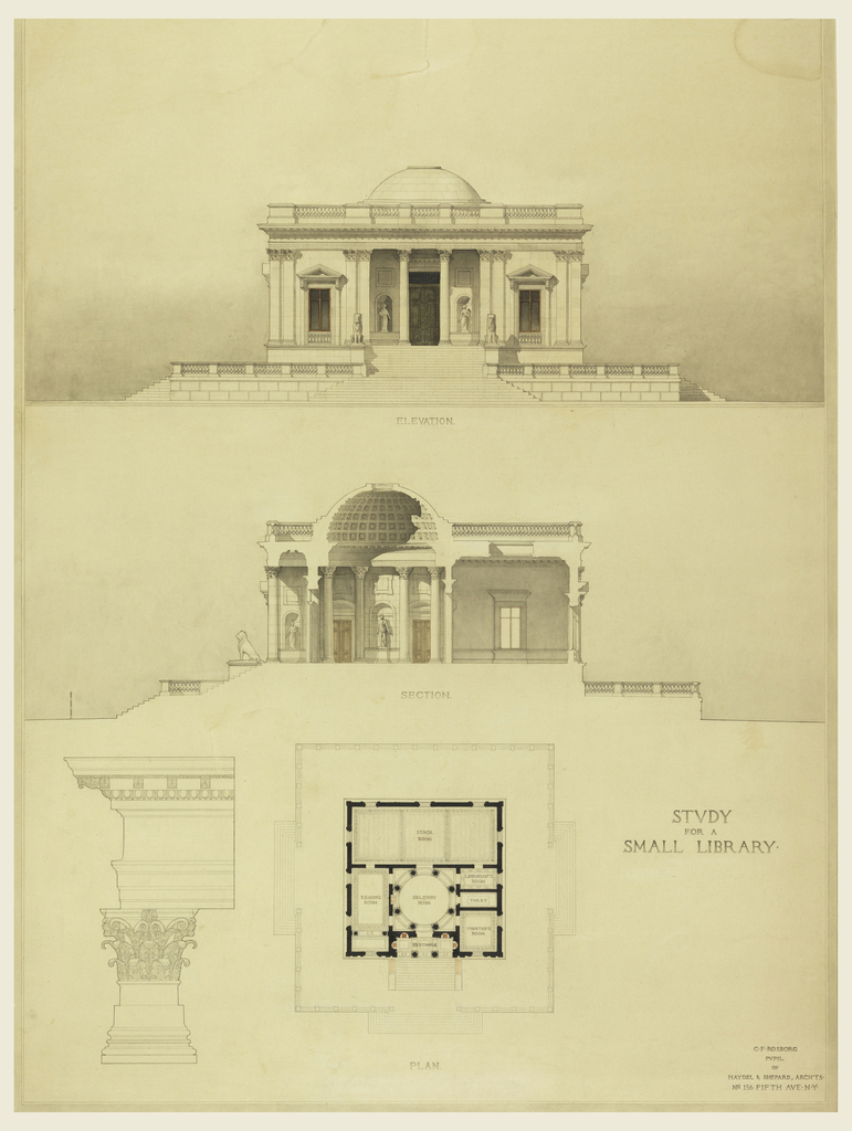 Drawing, Design for a small library: front elevation, section, plan