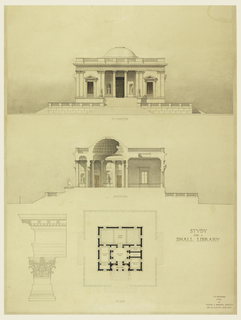 Front elevation, above, of a small building in the classical style, standing on a podium. Center, a section through a side elevation, showing the vestibule, delivery room, and Stack room. Plan, below, and detail of order (Corinthian), left.