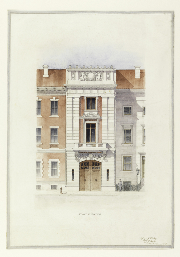Front elevation of a narrow three storey structure, flanked by two residences of the same height. Designed to house an engine company, it has two large doorways on the street floor, the large central pedimented window on the second floor, and the smaller window above, are enclosed between pairs of pilasters, which in turn support a classical entablature and sculptured relief.