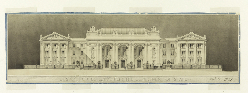 """Large classical building, porticoed facade and pedimented wings. Below: DESIGN FOR BUILDING FOR THE DEPARTMENT OF STATE; lower left: SCALE - 1/16"""" = 1'0."""