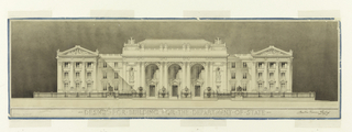 "Large classical building, porticoed facade and pedimented wings. Below: DESIGN FOR BUILDING FOR THE DEPARTMENT OF STATE; lower left: SCALE - 1/16"" = 1'0."