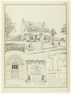 "Above, perspective view of the façade of a private house, two storeys and an attic floor. At lower right detail of entrance; at lower left details of moldings. Near right center: ""Submitted by,"" followed by lighted candle."