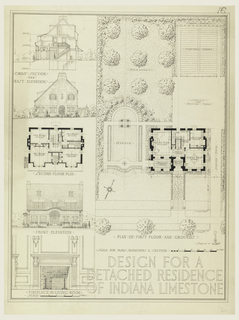 """At left, a cross section, east elevation, second floor plan, front elevation, fire place. At right, plan of first floor, with layout of grounds. Inscribed near lower right: """"Submitted by,"""" followed by lighted candle."""