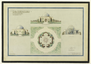 Design for a building equipped for astronomical observations. Center: front elevation, above; plan in form of a Greek cross, with apsidal end, below. Left: side elevation. Right: section showing stairs; plan of stairs. Scale: noted in graphite at lower left