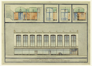 Design for a building with show-windows on the main floor. Interior elevations above: East walls, showing stairs, public hall, vestibule. Exterior elevation below. At lower right: C.F.R. des. del. June 1933 / C. F. Rosborg-Arch't / No 274 Madison Ave. New York City. Lower center: OCEANIC-INVESTING-CORPORATION / PROPOSED. IMPROVEMENT. OF PROPERTY. ON. MADISON. AVENUE-New York City.