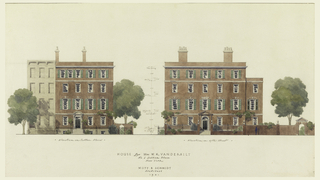 "Front and side elevations of a four story brick and limestone trim corner house, erected for Mrs. William K. Vanderbilt on the northeast corner of Sutton Place and 57th Street, New York. Scale indicated. Inscribed below: ""House for Mrs. W. K. Vanderbilt / No. 1 Sutton Place / New York / Mott B. Schmidt / Architect / 1921."""