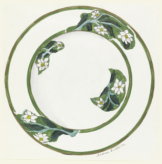 Design for a plate decorated with dogwood flowers on green grounds in patches around well and border; plate and well rim are green.