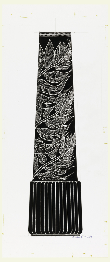 Possible design for a vase in black with white pattern of leaves; base made up of vertical ribs.