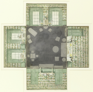 Maquette shows walls painted gray with windows, furniture, lamps, and plants. Flooring in circle pattern with spaces designated for furnishings.