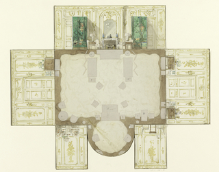 Maquette for sitting room with large bay; walls in white with gold details.
