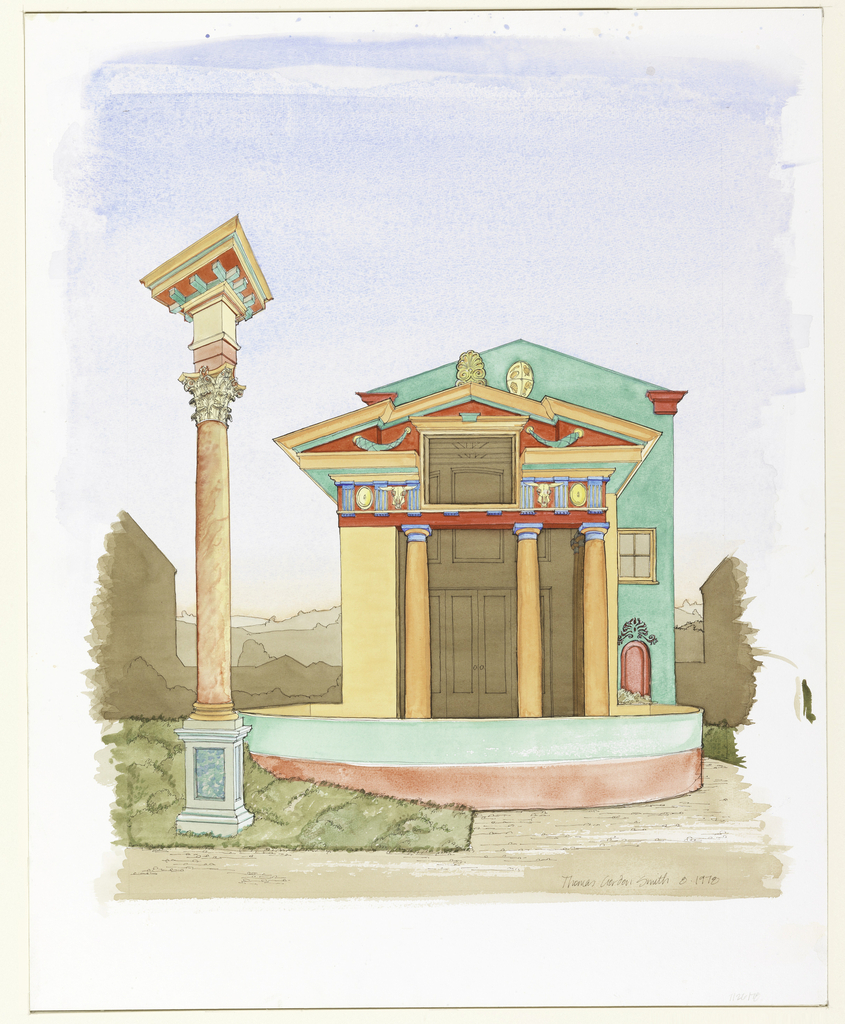 View of house façade with columns and Classical elements in different colors.