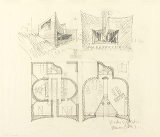 Conceptual arrangement of interior spaces (bottom) and two views of the exterior shape and texture of the building (top).  The concave curving building is bisected by central rectangular atrium cavity.  The lower right plan shows the living areas with recessed atrium cavity separated from the interior living areas by a glass wall.  The lower left plan shows the first floor with three bedrooms, three bathrooms, and a balcony overlooking the living areas on the ground floor below.