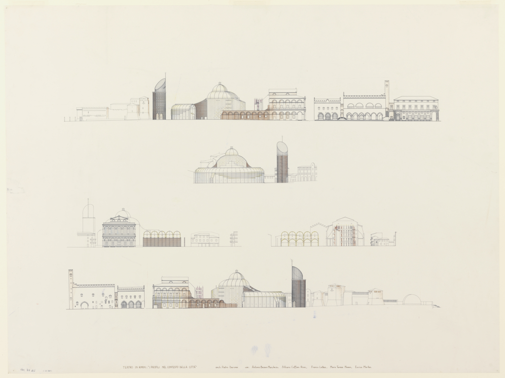 Drawing, Theatre in Rimini, Piazza Malatesta: Elevations and Sections